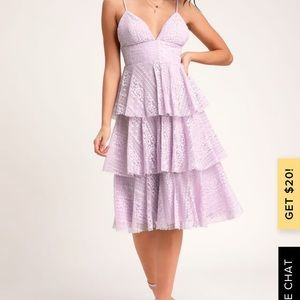 Endless romance lavender ruffled midi dress